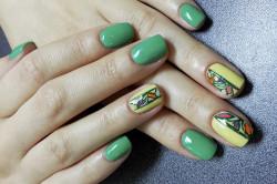 Контурный витражный дизайн ногтей
