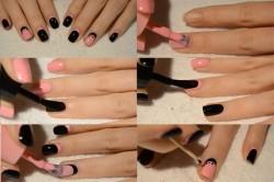 Вариант покраски ногтей черным и розовым лаком