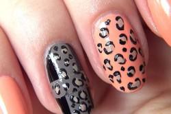 Леопардовый черно-розовый маникюр
