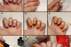 Черно-оранжевый лунный точечный маникюр