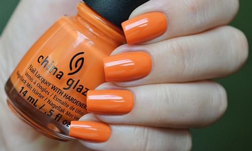 Оранжевый дизайн ногтей