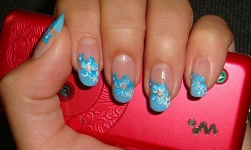 Голубой френч с цветочным узором