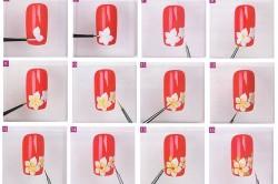 Этапы рисунка на ногтях тонкой кистью