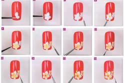 Схема рисования цветочков на ногтях