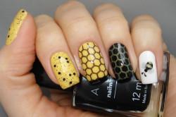 Комбинированный желто-черный дизайн ногтей