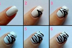 Этапы выполнения маникюра «зебра»