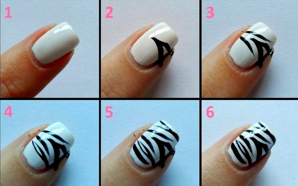 Простой рисунок на ногтях в домашних условиях пошагово белым гелем