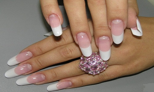 Френч на ногтях формы пайп